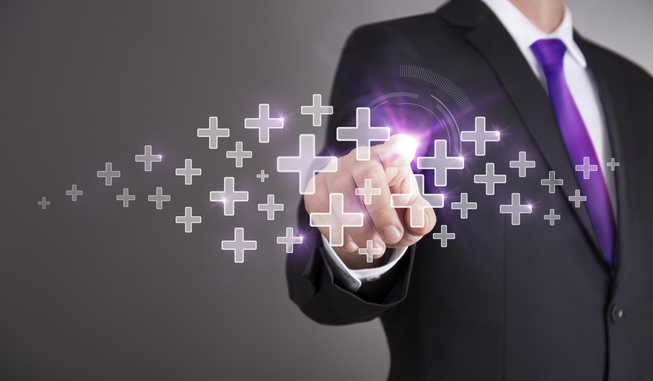 Businessman touch screen concept - Plus
