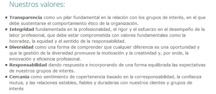 Valores Grupo Cooperativo Cajamar